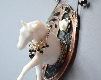 Nightmare Ghost Horse Necklace Made With Plastic Horse