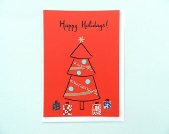 Happy Holidays Christmas tree - hand-drawn greeting card by Pauline Rousseau