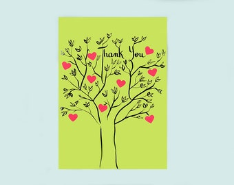 Thank you tree with hearts - hand-drawn card by Pauline Rousseau