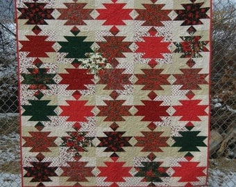 Christmas Quilt - Lanterns patchwork in vintage christmas fabrics