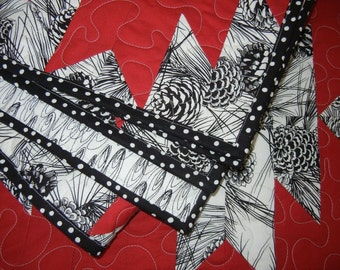Quilt - Red and black and white Pinecones and Lanterns patchwork