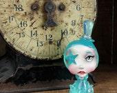 Pop Surrealism Artist Toy Collectible Sculpture Art Aqua Octopus Girl Kawaii