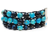 Blue and Teal 3-Tier Ablet Knitting Abacus - Row Counting Bracelet
