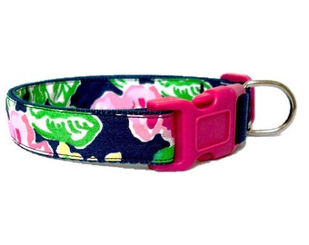 Dog Collar Made from Lilly Pulitzer Mini Getaway Garden Fabric on Navy Size: Your Choice