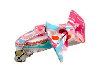 Kitten or Cat Collar with Removable Bow Made from Lilly Pulitzer Jellies be Jammin Fabric (Breakaway Buckle)
