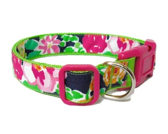 Dog Collar Made from Lilly Pulitzer Mini Getaway Garden Fabric on Green Size: Your Choice