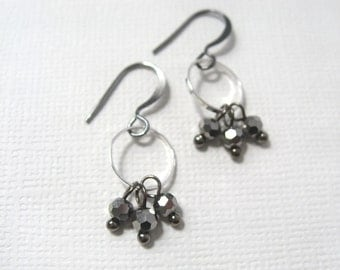 Galaxies earrings - gunmetal and silver tone metal with faceted Czech glass smoked silver bead earrings