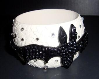 Bat - White and Black Monster Gothic Steampunk Glamour Wooden Bracelet With Swarovski Crystals