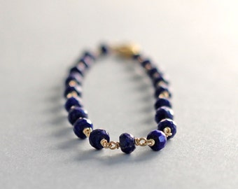 Blue Lapis Bracelet, Beaded Lapis Lazuli Bracelet, 14K Gold Fill Wire Wrapped, Ready to Ship