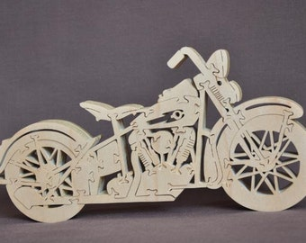Hard Tail  Motorcycle  Choice  Puzzle Wooden Toy Hand Cut with Scroll Saw