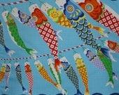 Japanese Fabric Square Boy's Day Furoshiki 'Seigaiha Koinobori' Carp Streamers Blue Cotton Boy's Day 50cm w/Free Insured Shipping