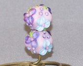Valentines Day Sale Lampwork Earring Beads SRA Pink base with watercolor blue and pale aqua flowers with purple blossoms green leaves