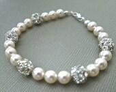 Swarovski Pearl Bridal Bracelet, Pearl Bridal Bracelet, Bridal Jewelry Bracelet, Rhinestone Wedding Bracelet, Bridal Jewelry