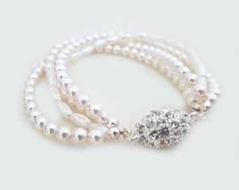 Swarovski Pearl Bracelet, Wedding Jewelry Bridal Bracelet, Blush Ivory Rhinestone Bracelet, Rice Pearl Three Strands Wedding Bracelet, LOVE