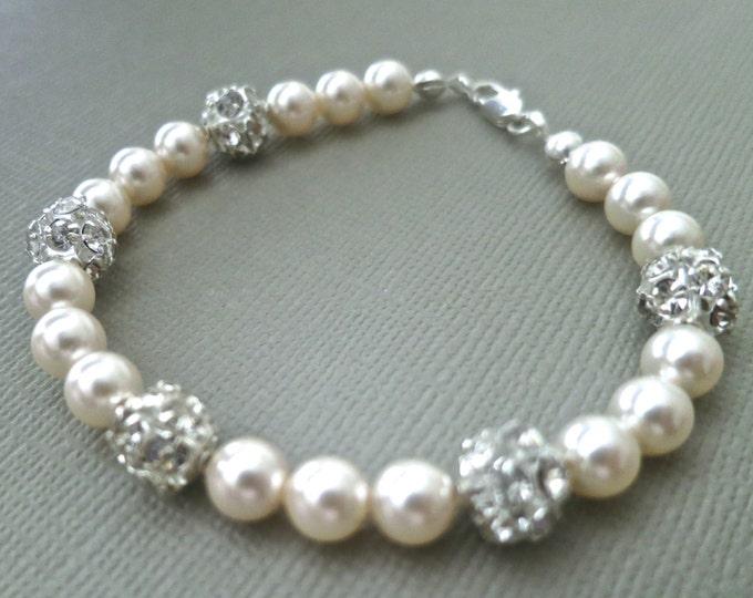 One Strand Swarovski Pearl Crystal Ball Bracelet