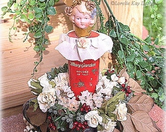 Mary's Garden Art Doll Assemblage Victorian Inspired Mixed Media Sculpture Altered Talc Tin