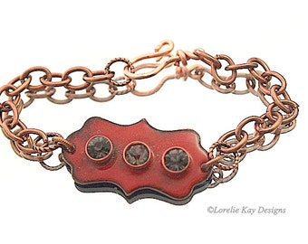 Deep Red Enamel & Crystal Bracelet  Kiln Enameled Office Jewelry One-of-a-Kind Handmade Link Bracelet