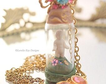 Frozen Charlotte Necklace Doll in Bottle Nature Girl Necklace Tiny Frozen Charlotte Glass Dome Pendant