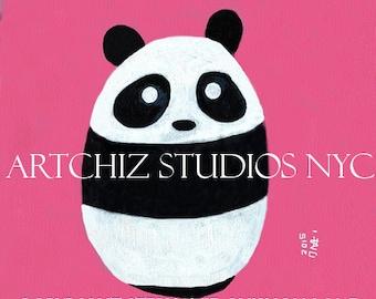 Baby Panda Pink. Panda Art Print. Art Print. Cute Nursery Animal Print. Children's illustration, kids art print, poster. Baby Girl