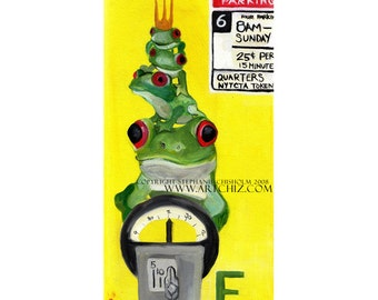 F for Frog. Frog Art. Illustration. Kids Art. Yellow. Alphabet Animal Art. Four Frogs on a Parking Meter in NYC. Kids Art Print. Poster