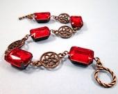 Rhinestone Bracelet, Ruby Red Glass Rhinestones and Brass Filigree Bracelet, FREE Shipping U.S.
