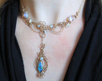 SABBATICAL SALE: Opal and diamond necklace in 14k gold