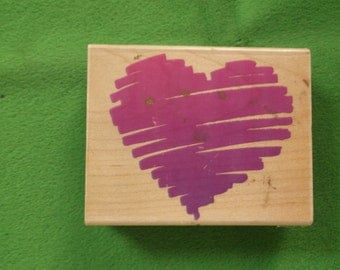 Scribble Heart Rubber Stamp Rubber Stampede