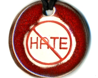 Stop the Hate Ceramic Necklace in Deep Red