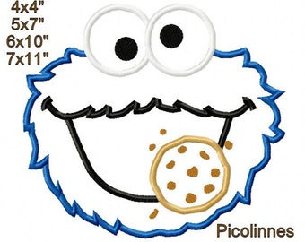 Monster eating cookie Machine Embroidery Applique Digital Pattern 4x4 5x7 6x10 7x11 INSTANT DOWNLOAD