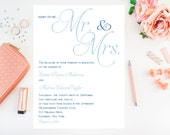 Simple Classy Wedding Invitations, Blue Wedding Invitation - Mr. & Mrs. Wedding Invitation