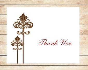 Fleur de lis Thank You cards - Fleur Stationery