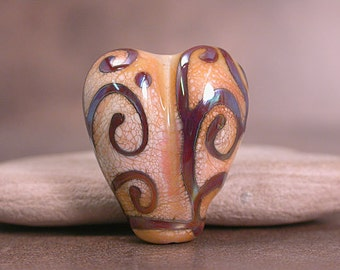 Lampwork Glass Focal Bead Heart Ivory with Terra Scrolls Divine Spark Designs SRA LeTeam