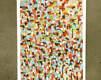 Shapes - Handprinted art print