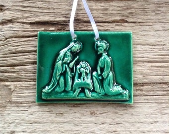Nativity Ceramic Ornament In Forrest Green