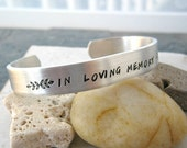 Memorial Bracelet, in loving memory, double sided, 60 characters on front, 30 on inside, remembrance gift, sympathy, makes a thoughtful gift