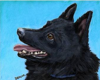 Schipperke Dog Art Print of Original Painting by Dottie Dracos, Skippy Profile