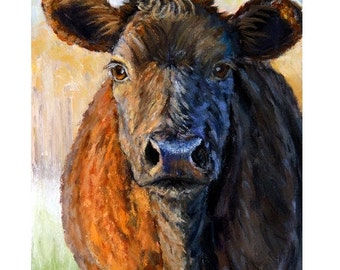 Red Cow Art Print, Just Before Sunset, Painting by Dottie Dracos,Various Sizes