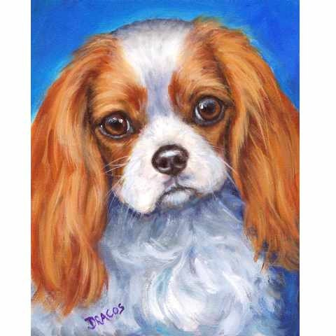 Cavalier King Charles Spaniel Dog Art Original Acrylic