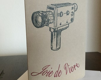 Joie de Vivre Camera - Gocco Screen-Printed Cinema Greeting Card