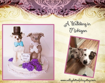 Custom Pit Bull (or any dog or cat) Wedding Cake Topper with two Dogs or cats on 5 inch round base OOAK Handsculpted by Sallys Bits of Clay