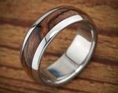 Titanium Wood Wedding Band Bocote Men's Ring