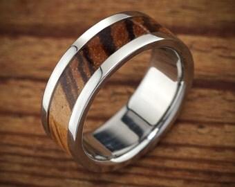 Titanium Zebra Wood Wedding Band Men's Ring