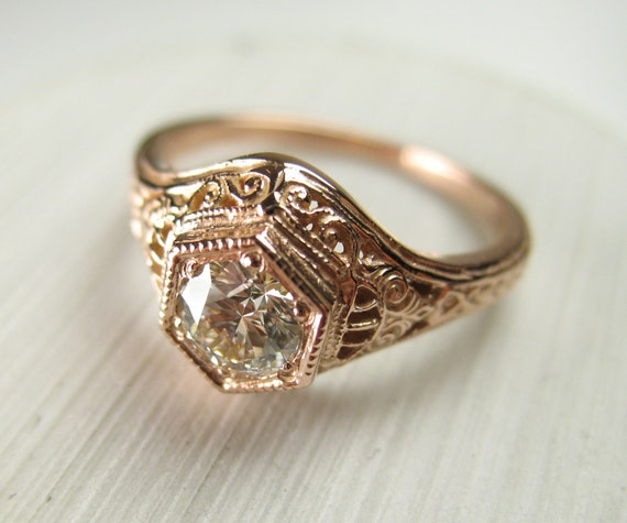 Items similar to Filigree Antique Vintage Engagement Diamond Ring Rose Gold o