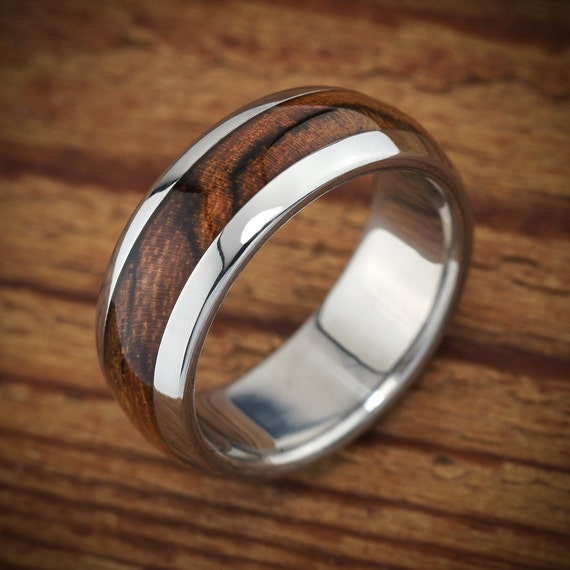 Titanium Wood Wedding Band Bocote Men 39 S Ring