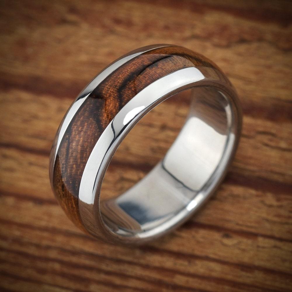 Mens Titanium Wood Wedding Bands: Titanium Wood Wedding Band Bocote Men's Ring