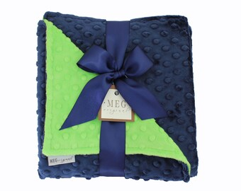 Navy Blue & Lime Green Minky Dot Baby Boy Blanket {Seattle Seahawks Football Fans} 972