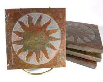 Stone Coasters: Sun Coasters - 4 Carved Slate Coasters - Natural Drink Coasters, Sun Decor, Etched Slate Coasters, Housewarming Gift
