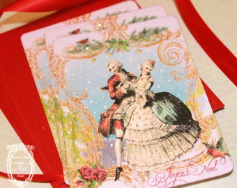 Marie Antoinette Christmas Waltz Card Set or Invitations with Shimmering Stardream Red Envelopes and Seals
