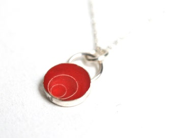 Sterling Silver and Red Resin Necklace, Handmade Jewelry, Resin Pendant, Handmade Necklace,  Layering Necklace