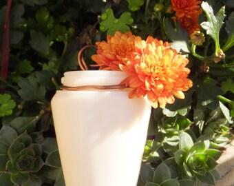 Small Vintage Milk Glass Hanging Vase with Copper Wire Hanger Small Vase Vintage Vase White Vase Cottage Chic Decor Gift Vase White Decor